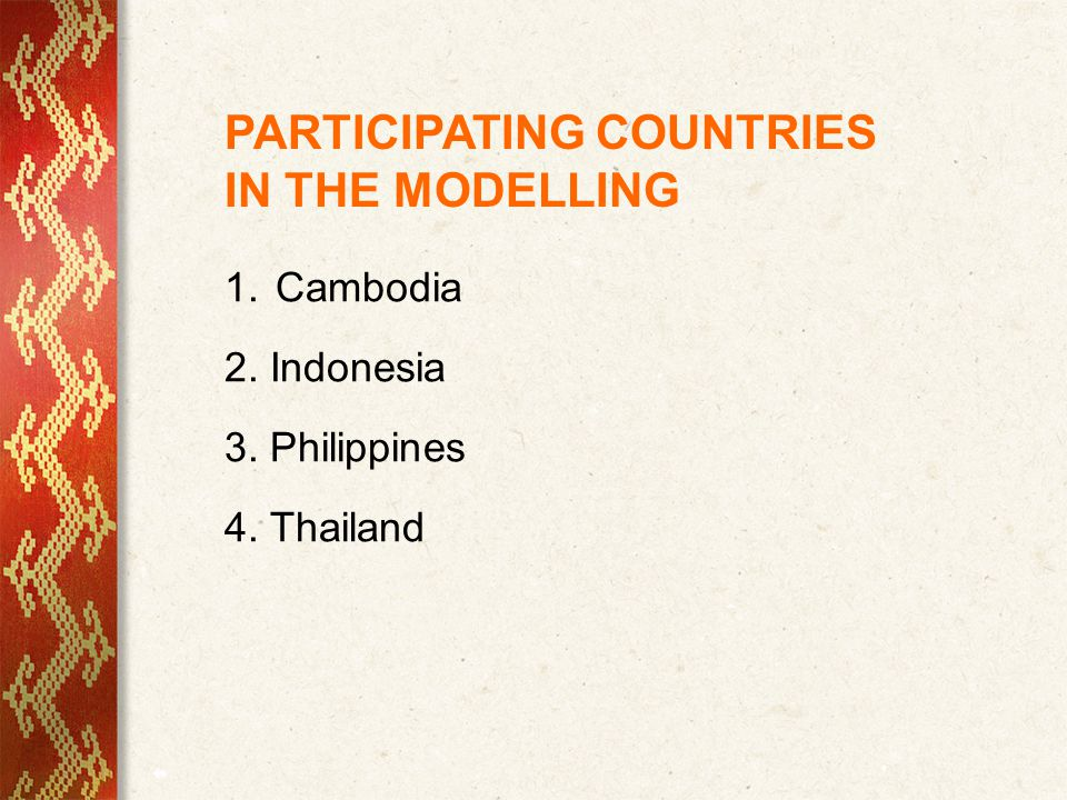PARTICIPATING COUNTRIES IN THE MODELLING 1. Cambodia 2. Indonesia 3. Philippines 4. Thailand