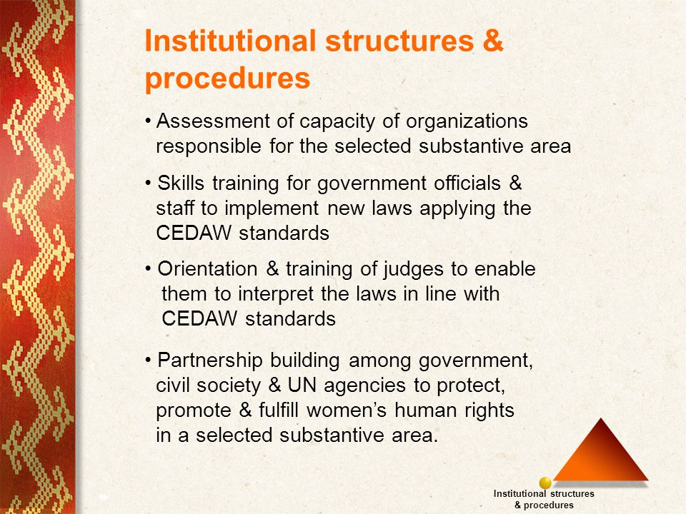 Assessment of capacity of organizations responsible for the selected substantive area Skills training for government officials & staff to implement new laws applying the CEDAW standards Institutional structures & procedures Institutional structures & procedures Orientation & training of judges to enable them to interpret the laws in line with CEDAW standards Partnership building among government, civil society & UN agencies to protect, promote & fulfill women's human rights in a selected substantive area.