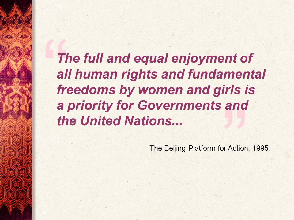 The full and equal enjoyment of all human rights and fundamental freedoms by women and girls is a priority for Governments and the United Nations...