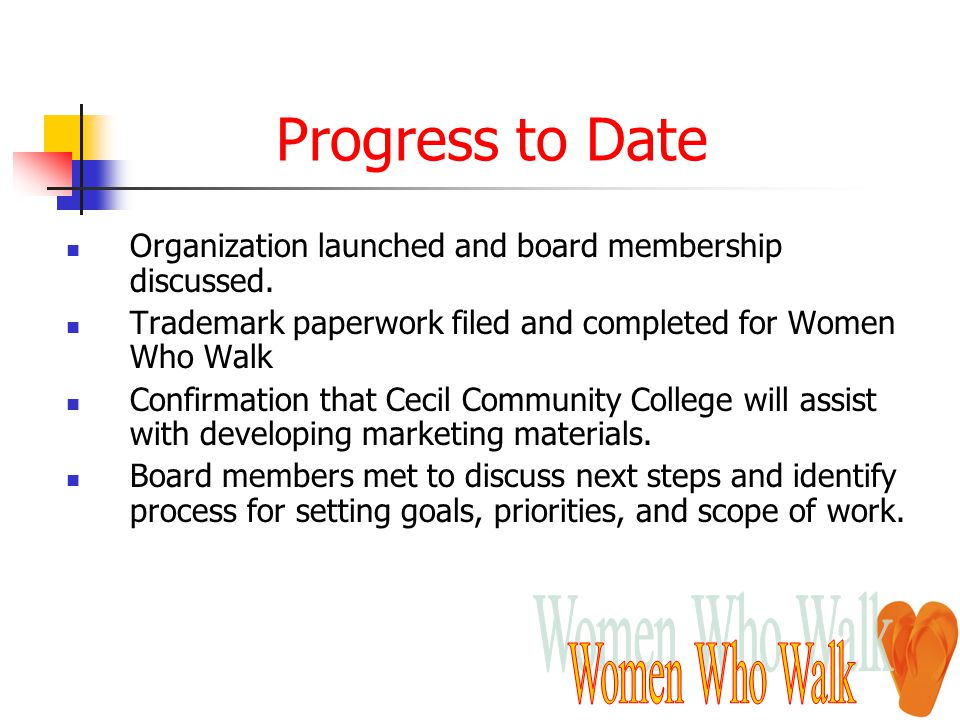 Progress to Date Organization launched and board membership discussed. Trademark paperwork filed and completed for Women Who Walk Confirmation that Ce