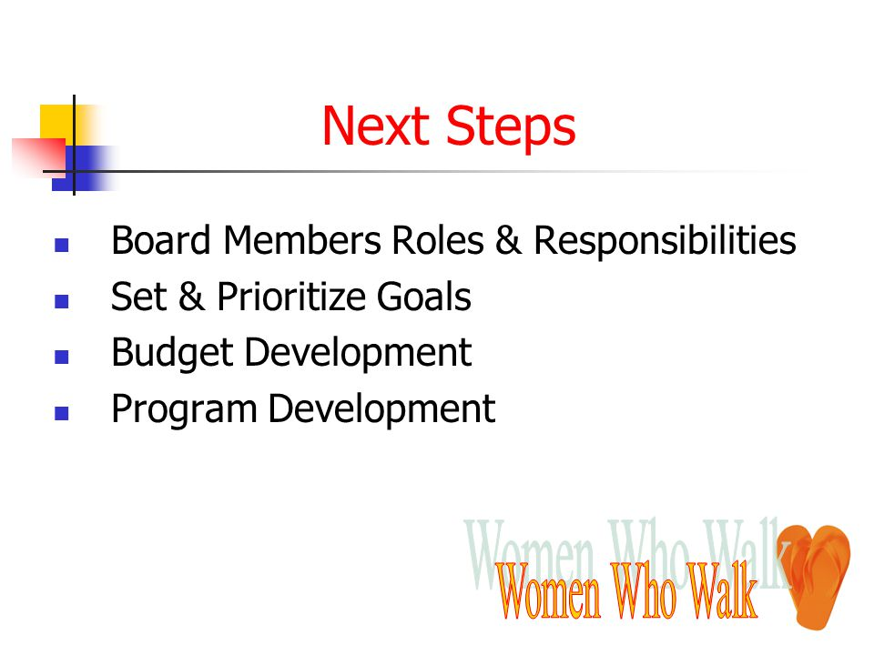 Next Steps Board Members Roles & Responsibilities Set & Prioritize Goals Budget Development Program Development