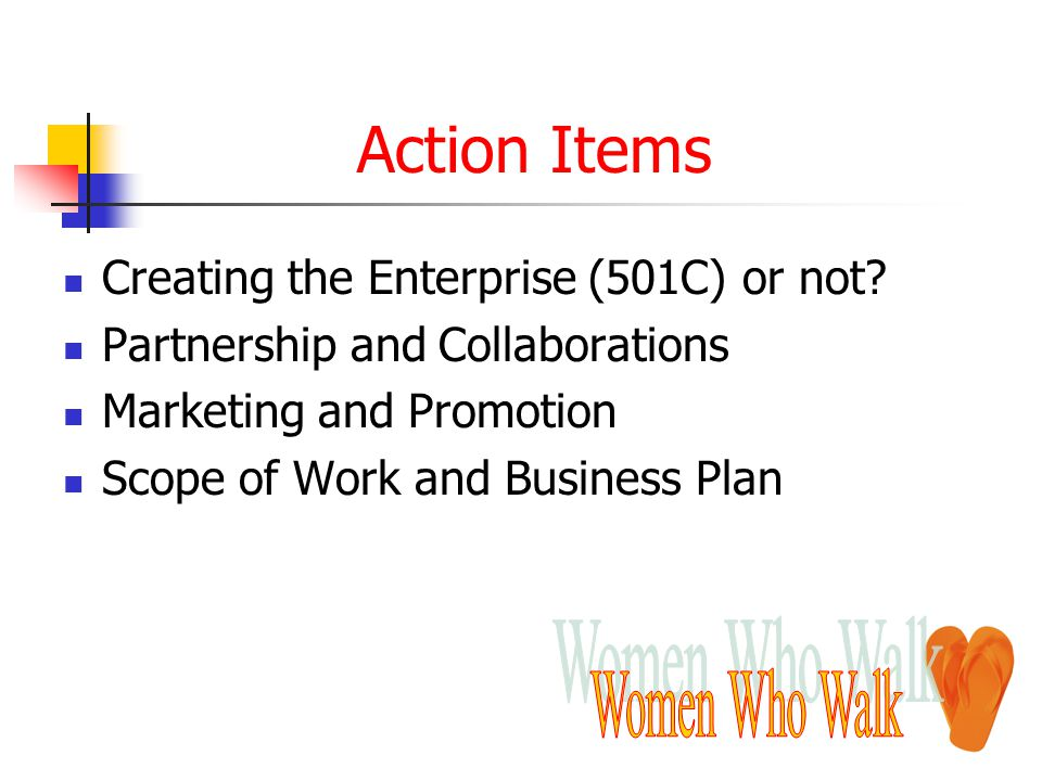 Action Items Creating the Enterprise (501C) or not? Partnership and Collaborations Marketing and Promotion Scope of Work and Business Plan