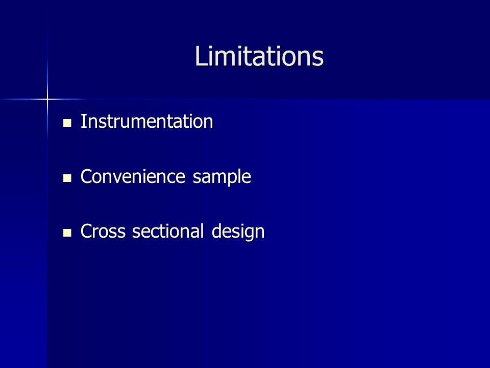 Limitations Instrumentation Instrumentation Convenience sample Convenience sample Cross sectional design Cross sectional design