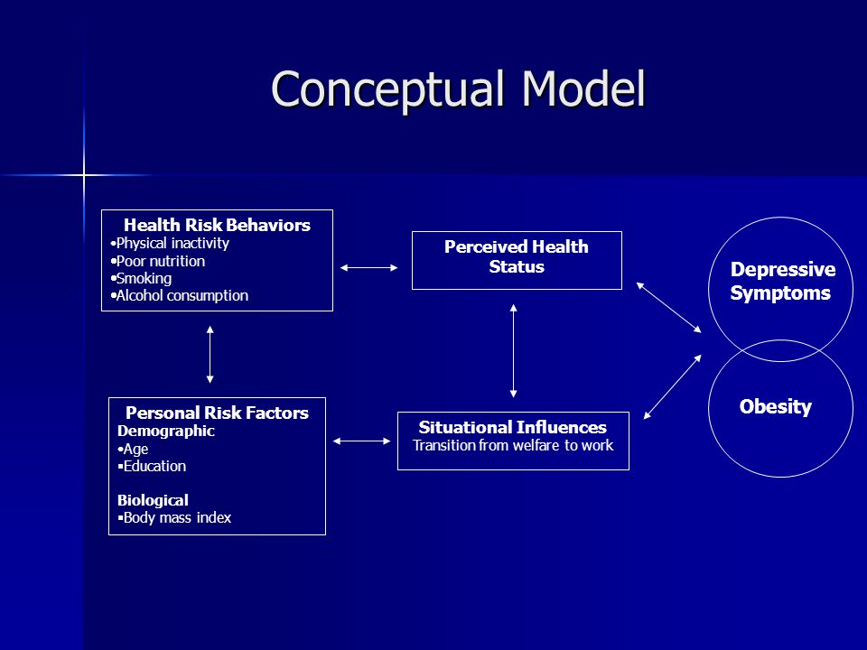 Conceptual Model Personal Risk Factors Demographic Age  Education Biological  Body mass index Perceived Health Status Health Risk Behaviors Physical inactivity  Poor nutrition  Smoking  Alcohol consumption Situational Influences Transition from welfare to work Depressive Symptoms Obesity