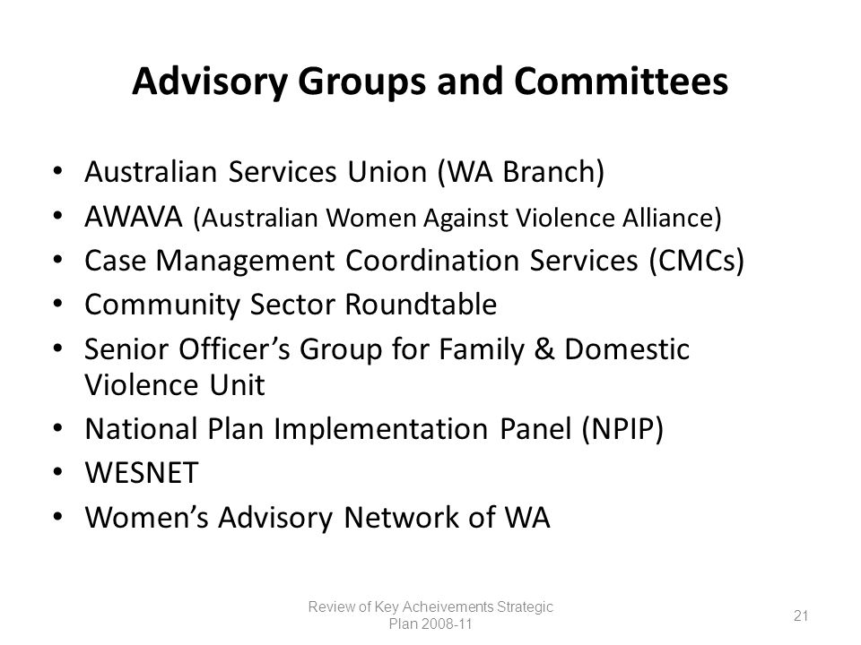 Advisory Groups and Committees Australian Services Union (WA Branch) AWAVA (Australian Women Against Violence Alliance) Case Management Coordination Services (CMCs) Community Sector Roundtable Senior Officer's Group for Family & Domestic Violence Unit National Plan Implementation Panel (NPIP) WESNET Women's Advisory Network of WA Review of Key Acheivements Strategic Plan 2008-11 21