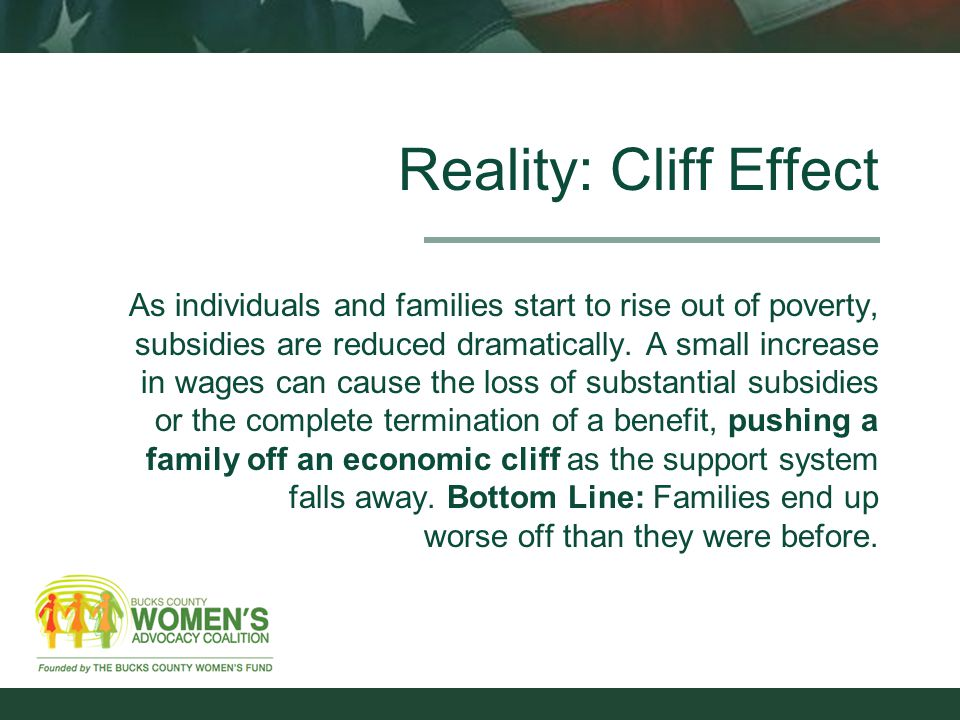 Reality: Cliff Effect As individuals and families start to rise out of poverty, subsidies are reduced dramatically.