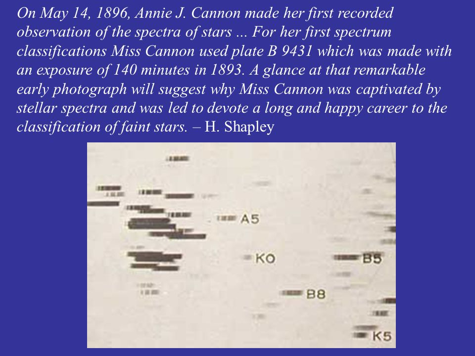 On May 14, 1896, Annie J. Cannon made her first recorded observation of the spectra of stars...