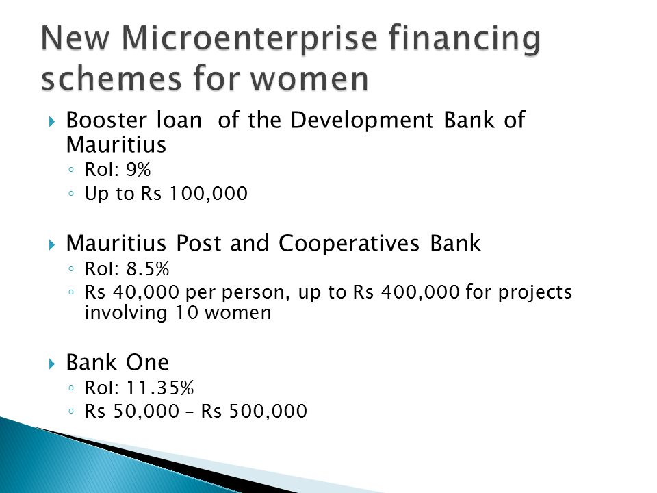  Booster loan of the Development Bank of Mauritius ◦ RoI: 9% ◦ Up to Rs 100,000  Mauritius Post and Cooperatives Bank ◦ RoI: 8.5% ◦ Rs 40,000 per person, up to Rs 400,000 for projects involving 10 women  Bank One ◦ RoI: 11.35% ◦ Rs 50,000 – Rs 500,000