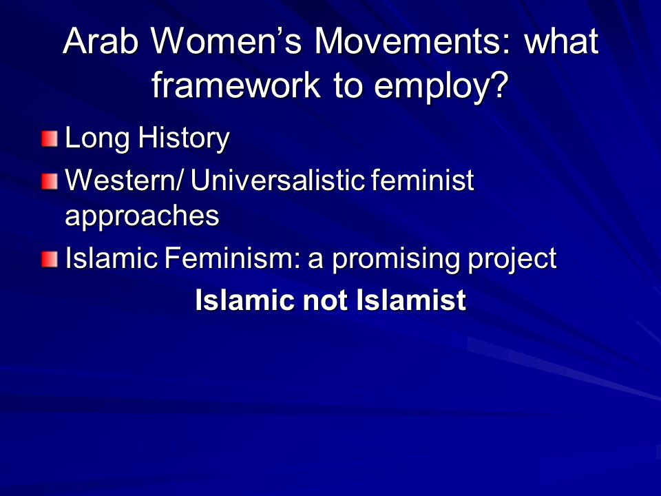 Arab Women's Movements: what framework to employ.