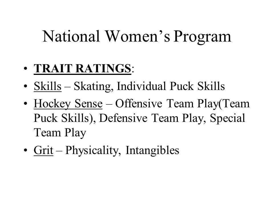 National Women's Program TRAIT RATINGS: Skills – Skating, Individual Puck Skills Hockey Sense – Offensive Team Play(Team Puck Skills), Defensive Team Play, Special Team Play Grit – Physicality, Intangibles