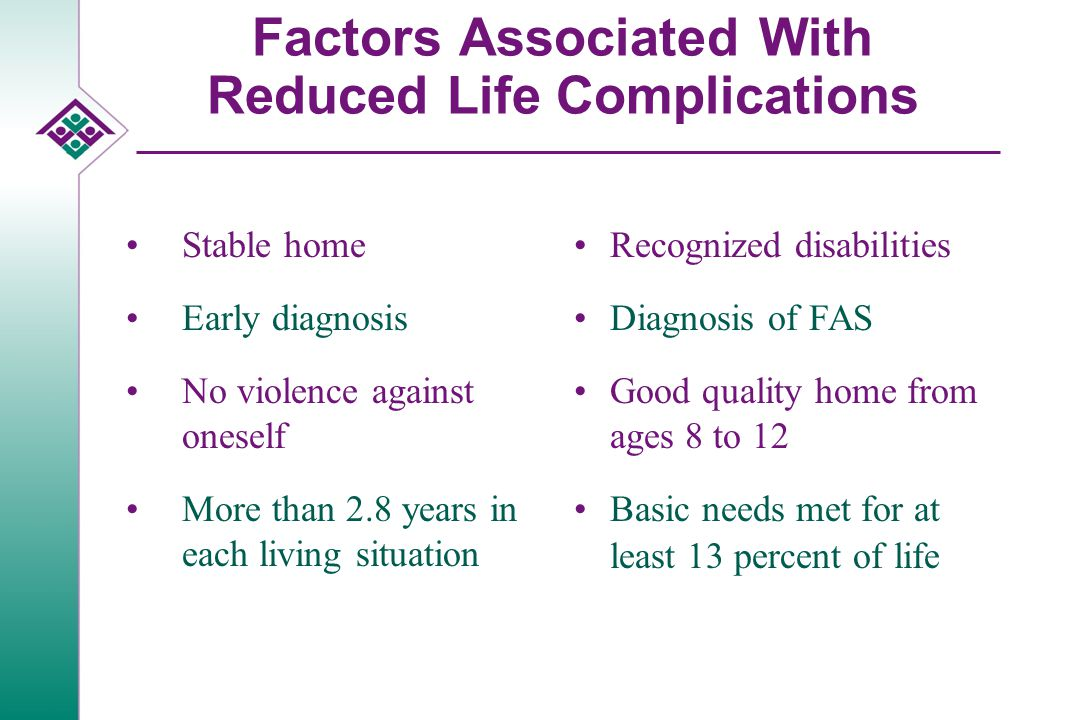 Factors Associated With Reduced Life Complications Stable home Early diagnosis No violence against oneself More than 2.8 years in each living situation Recognized disabilities Diagnosis of FAS Good quality home from ages 8 to 12 Basic needs met for at least 13 percent of life