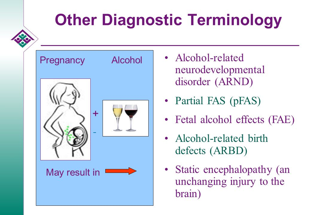 Other Diagnostic Terminology Pregnancy + Alcohol May result in Alcohol-related neurodevelopmental disorder (ARND) Partial FAS (pFAS) Fetal alcohol eff
