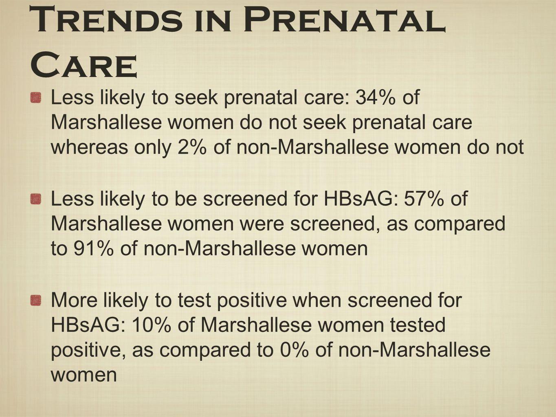 Trends in Prenatal Care Less likely to seek prenatal care: 34% of Marshallese women do not seek prenatal care whereas only 2% of non-Marshallese women