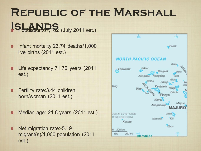 Republic of the Marshall Islands Population:67,182 (July 2011 est.) Infant mortality:23.74 deaths/1,000 live births (2011 est.) Life expectancy:71.76