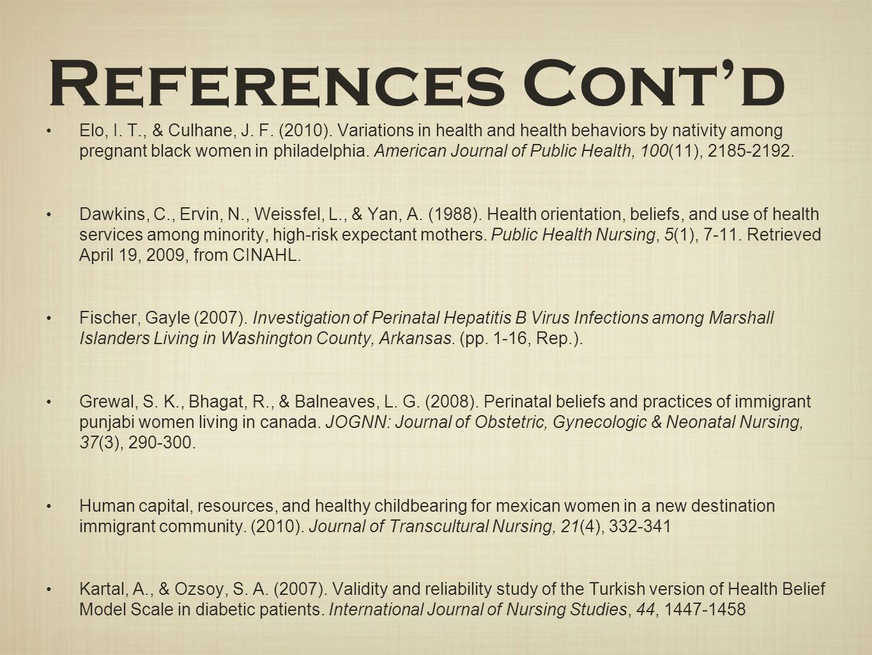 Elo, I. T., & Culhane, J. F. (2010). Variations in health and health behaviors by nativity among pregnant black women in philadelphia. American Journa