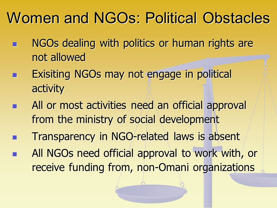Women and NGOs: Political Obstacles NGOs dealing with politics or human rights are not allowed NGOs dealing with politics or human rights are not allo