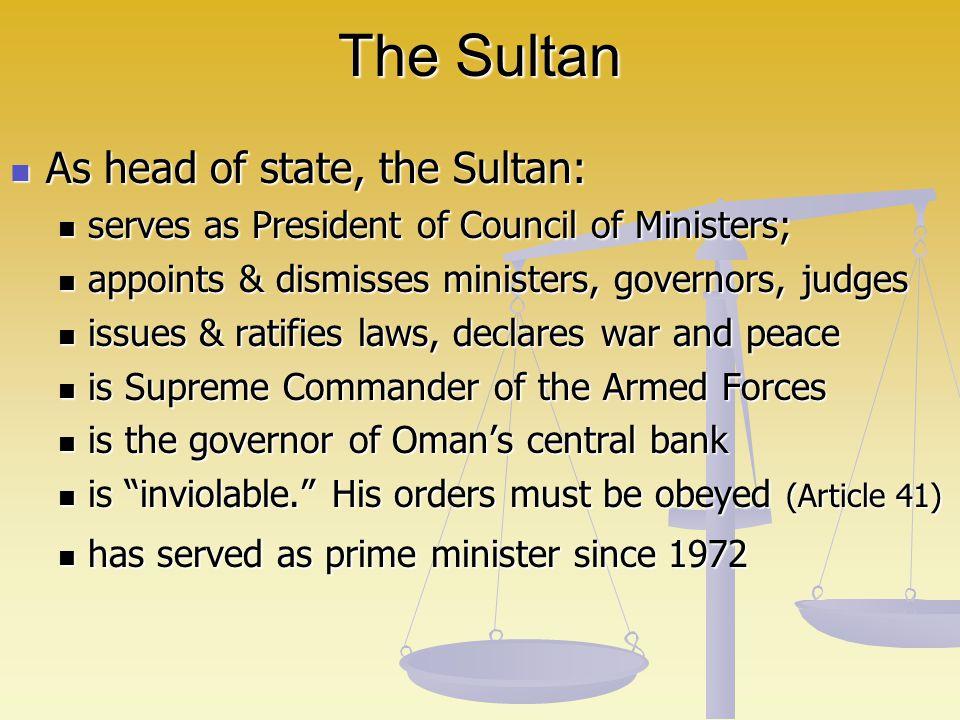 Sultan Qaboos (in power since July 23, 1970)