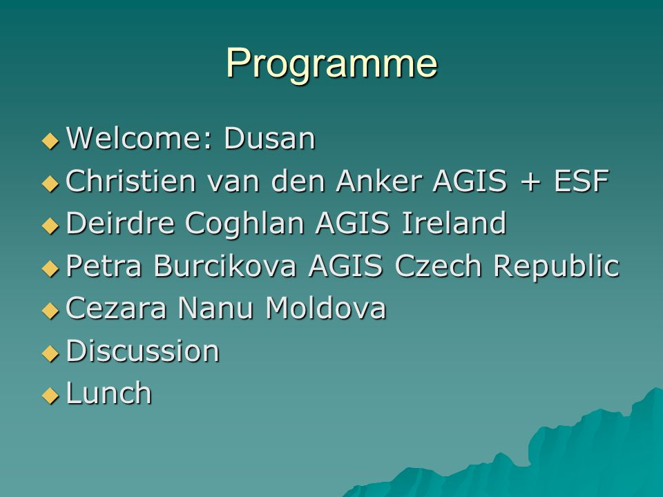 Programme  Welcome: Dusan  Christien van den Anker AGIS + ESF  Deirdre Coghlan AGIS Ireland  Petra Burcikova AGIS Czech Republic  Cezara Nanu Moldova  Discussion  Lunch