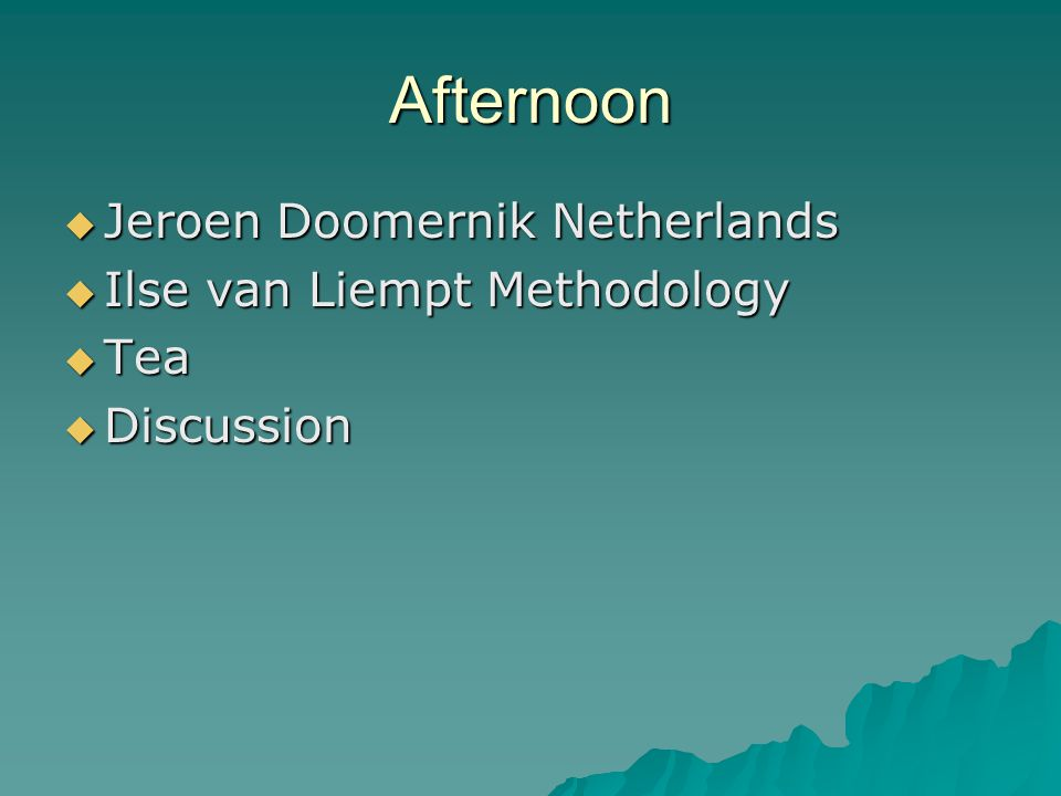 Afternoon  Jeroen Doomernik Netherlands  Ilse van Liempt Methodology  Tea  Discussion