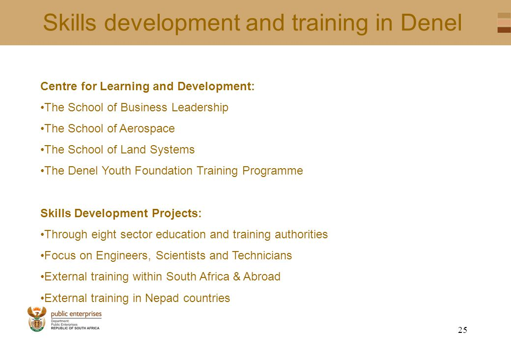 24 Skills development and training in Denel EXTERNAL BURSARIES 2004/2005 FIELD OF STUDYTOTALGENDER MALEFEMALE Chemical Engineering12102 Aeronautical Engineering1064 Mechanical Engineering17143 Electrical Engineering12111 Industrial Engineering532 Technical Software Systems330 Electronic Engineering665412 Computer Engineering1697 Marketing963 B Tech431 Commerce1064 GRAND TOTAL16412539