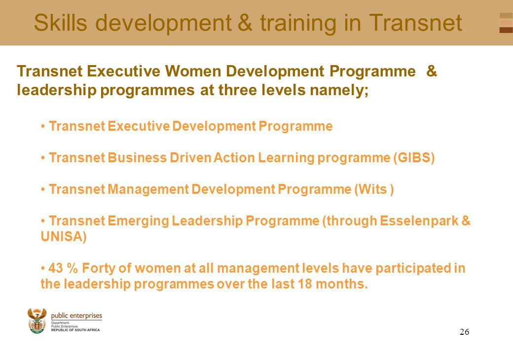 25 Skills development and training in Denel Centre for Learning and Development: The School of Business Leadership The School of Aerospace The School of Land Systems The Denel Youth Foundation Training Programme Skills Development Projects: Through eight sector education and training authorities Focus on Engineers, Scientists and Technicians External training within South Africa & Abroad External training in Nepad countries