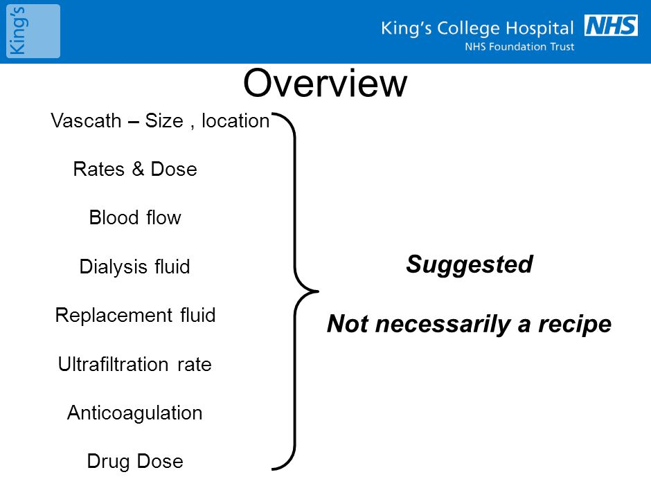 Vascath – Size, location Rates & Dose Blood flow Dialysis fluid Replacement fluid Ultrafiltration rate Anticoagulation Drug Dose Suggested Not necessa