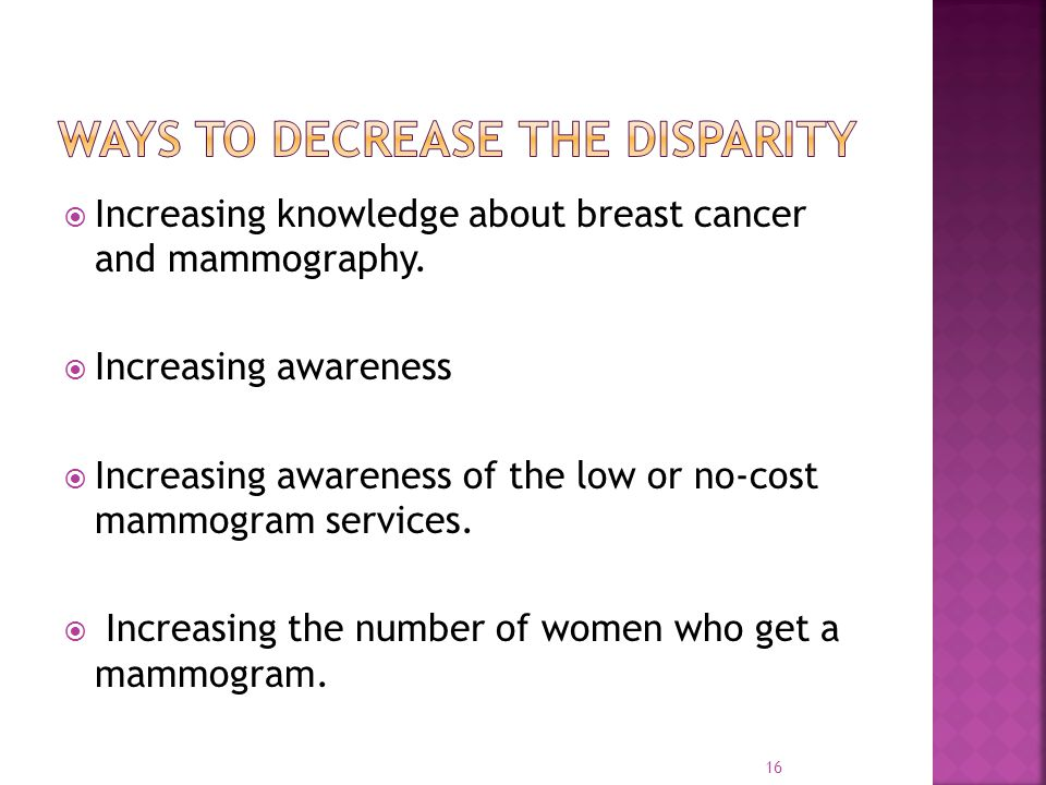  Increasing knowledge about breast cancer and mammography.  Increasing awareness  Increasing awareness of the low or no-cost mammogram services. 