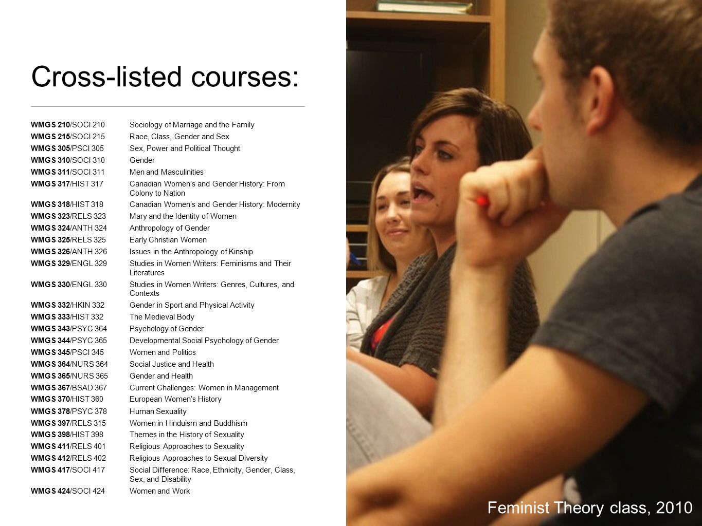 Cross-listed courses: WMGS 210/SOCI 210Sociology of Marriage and the Family WMGS 215/SOCI 215Race, Class, Gender and Sex WMGS 305/PSCI 305Sex, Power and Political Thought WMGS 310/SOCI 310Gender WMGS 311/SOCI 311Men and Masculinities WMGS 317/HIST 317Canadian Women's and Gender History: From Colony to Nation WMGS 318/HIST 318Canadian Women's and Gender History: Modernity WMGS 323/RELS 323Mary and the Identity of Women WMGS 324/ANTH 324 Anthropology of Gender WMGS 325/RELS 325 Early Christian Women WMGS 326/ANTH 326 Issues in the Anthropology of Kinship WMGS 329/ENGL 329 Studies in Women Writers: Feminisms and Their Literatures WMGS 330/ENGL 330 Studies in Women Writers: Genres, Cultures, and Contexts WMGS 332/HKIN 332Gender in Sport and Physical Activity WMGS 333/HIST 332The Medieval Body WMGS 343/PSYC 364Psychology of Gender WMGS 344/PSYC 365Developmental Social Psychology of Gender WMGS 345/PSCI 345Women and Politics WMGS 364/NURS 364 Social Justice and Health WMGS 365/NURS 365 Gender and Health WMGS 367/BSAD 367Current Challenges: Women in Management WMGS 370/HIST 360European Women's History WMGS 378/PSYC 378Human Sexuality WMGS 397/RELS 315Women in Hinduism and Buddhism WMGS 398/HIST 398Themes in the History of Sexuality WMGS 411/RELS 401Religious Approaches to Sexuality WMGS 412/RELS 402Religious Approaches to Sexual Diversity WMGS 417/SOCI 417Social Difference: Race, Ethnicity, Gender, Class, Sex, and Disability WMGS 424/SOCI 424Women and Work Feminist Theory class, 2010