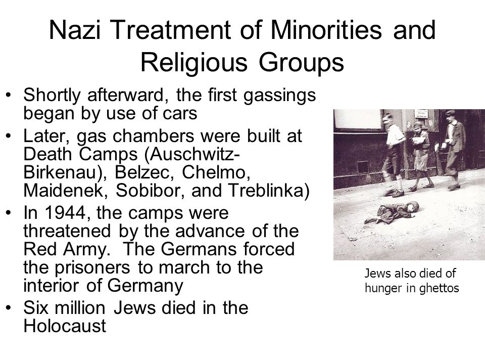 Nazi Treatment of Minorities and Religious Groups Shortly afterward, the first gassings began by use of cars Later, gas chambers were built at Death C