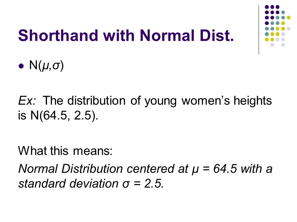 Shorthand with Normal Dist. N(µ,σ) Ex: The distribution of young women's heights is N(64.5, 2.5). What this means: Normal Distribution centered at µ =