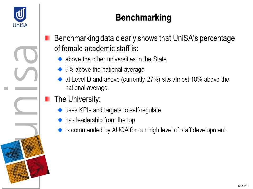Slide:5 Benchmarking Benchmarking data clearly shows that UniSA's percentage of female academic staff is: above the other universities in the State 6% above the national average at Level D and above (currently 27%) sits almost 10% above the national average.