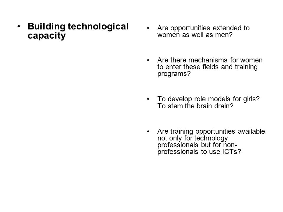 Building technological capacity Are opportunities extended to women as well as men.