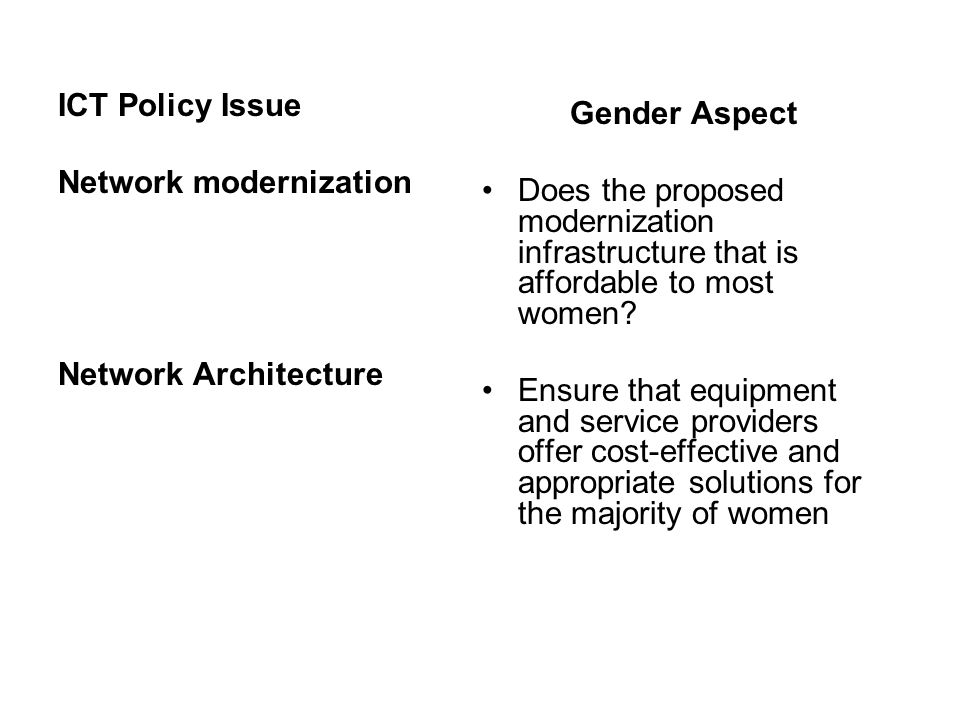ICT Policy Issue Network modernization Network Architecture Gender Aspect Does the proposed modernization infrastructure that is affordable to most women.