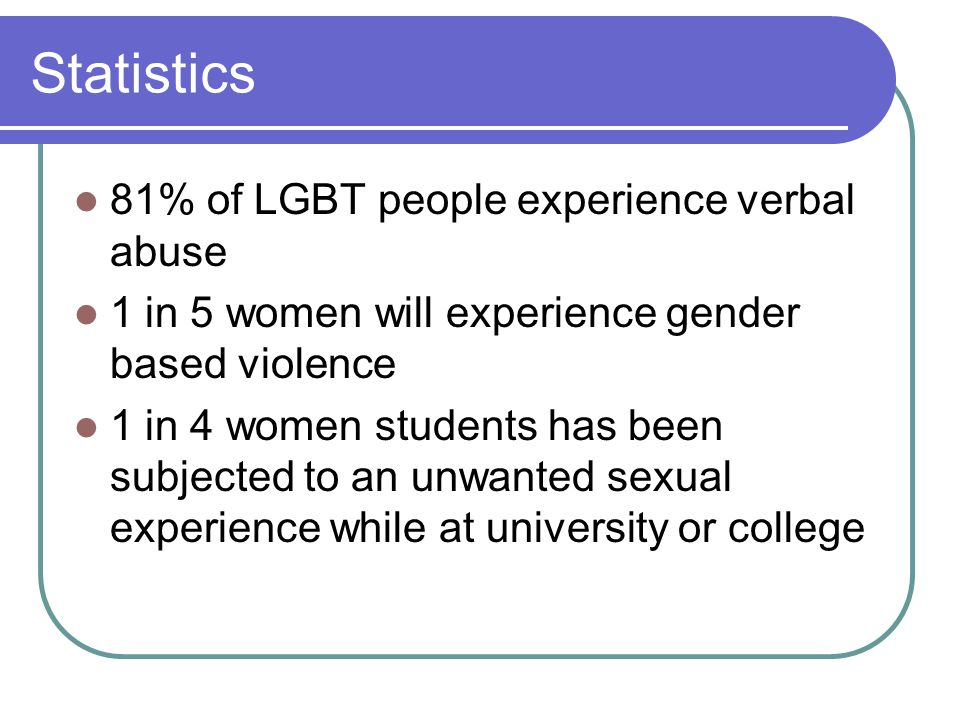 Statistics 81% of LGBT people experience verbal abuse 1 in 5 women will experience gender based violence 1 in 4 women students has been subjected to an unwanted sexual experience while at university or college