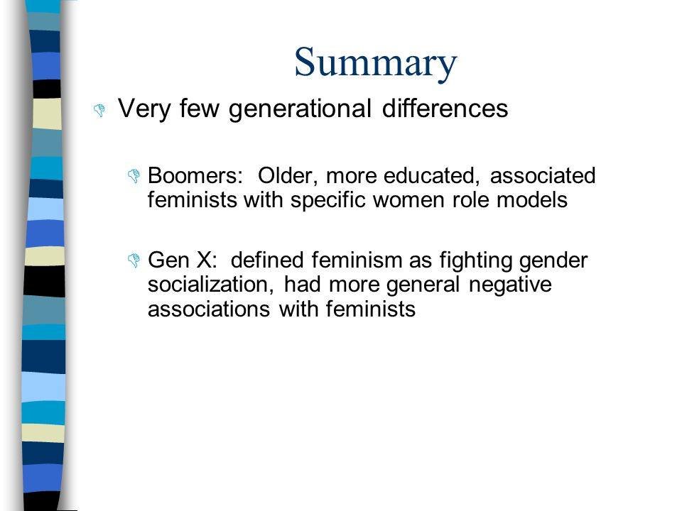 Summary  Very few generational differences  Boomers: Older, more educated, associated feminists with specific women role models  Gen X: defined feminism as fighting gender socialization, had more general negative associations with feminists