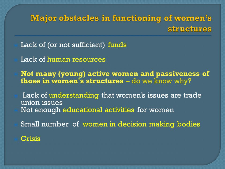  Lack of (or not sufficient) funds  Lack of human resources  Not many (young) active women and passiveness of those in women s structures – do we know why.