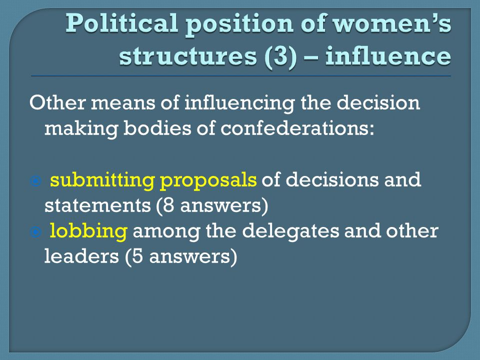 Other means of influencing the decision making bodies of confederations:  submitting proposals of decisions and statements (8 answers)  lobbing amon