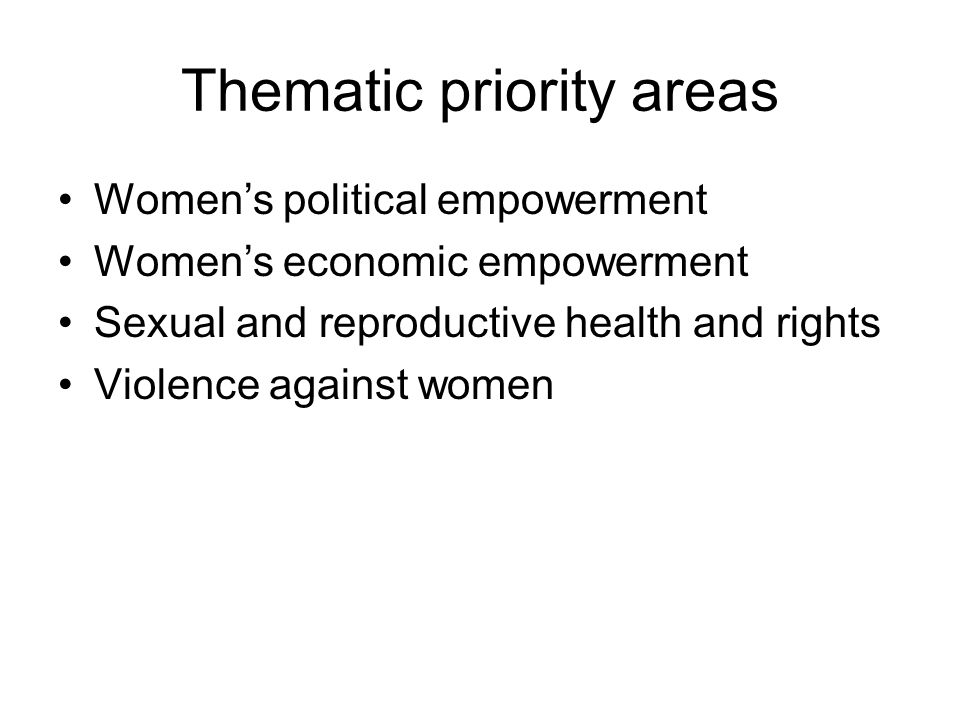 Thematic priority areas Women's political empowerment Women's economic empowerment Sexual and reproductive health and rights Violence against women