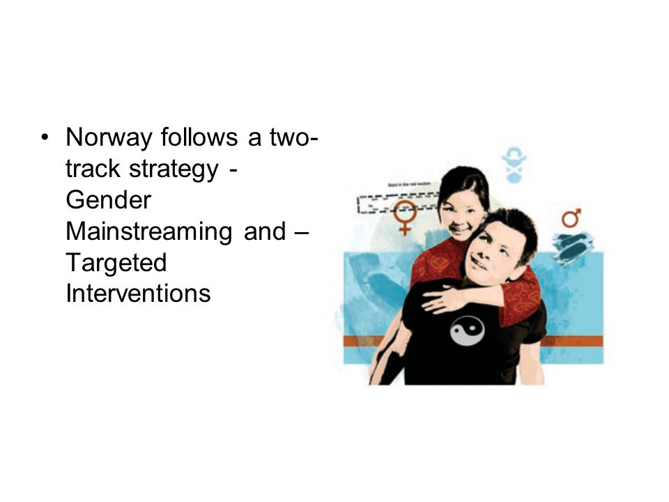 Norway follows a two- track strategy - Gender Mainstreaming and – Targeted Interventions