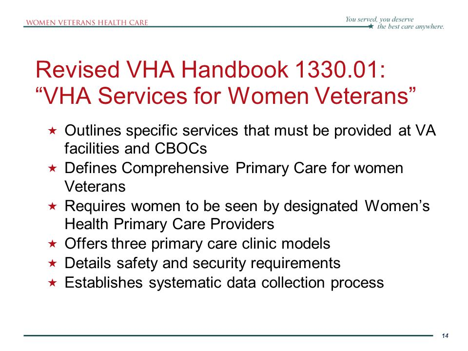 14 Revised VHA Handbook 1330.01: VHA Services for Women Veterans  Outlines specific services that must be provided at VA facilities and CBOCs  Defines Comprehensive Primary Care for women Veterans  Requires women to be seen by designated Women's Health Primary Care Providers  Offers three primary care clinic models  Details safety and security requirements  Establishes systematic data collection process 14