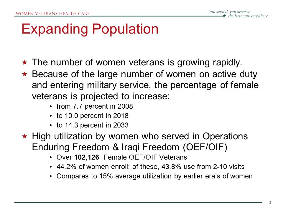 3 Expanding Population  The number of women veterans is growing rapidly.