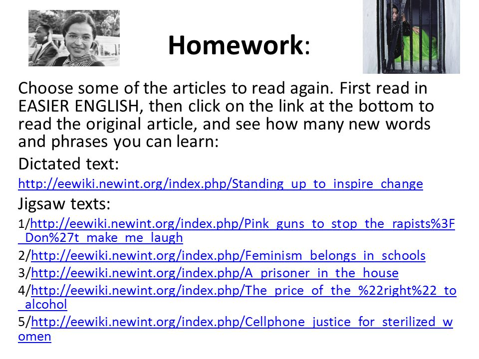 Homework: Choose some of the articles to read again.