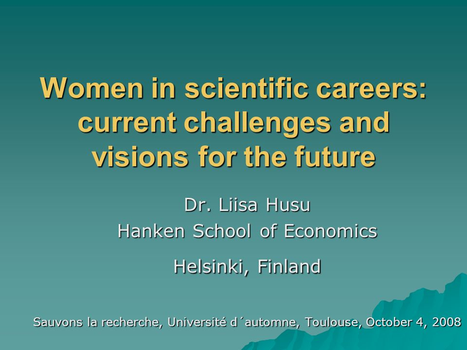 Husu 2008 Why promote women and gender equality in science.