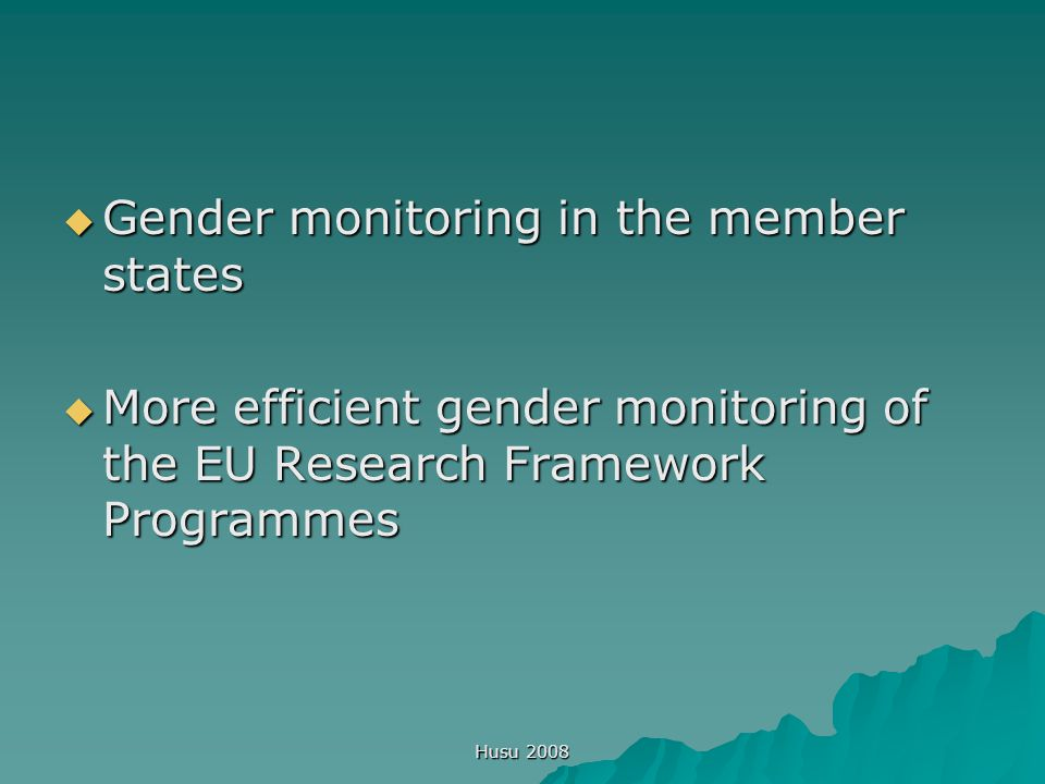 Husu 2008  Gender monitoring in the member states  More efficient gender monitoring of the EU Research Framework Programmes