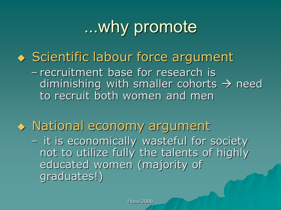 Husu 2008 Focus on scientific organisations  Change in conceptualising the debate on women in science in the 1990s:  Focus on academic and scientific organisations: how they treat and approach women and men & produce, reproduce (or deconstruct!) gendered hierarchies and cultures