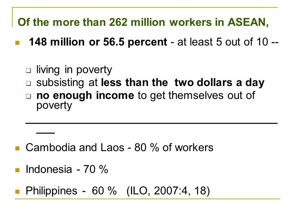 Of the more than 262 million workers in ASEAN, 148 million or 56.5 percent - at least 5 out of 10 --  living in poverty  subsisting at less than the
