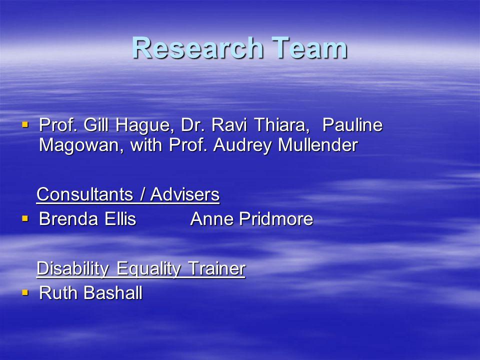 Research Team  Prof. Gill Hague, Dr. Ravi Thiara, Pauline Magowan, with Prof.