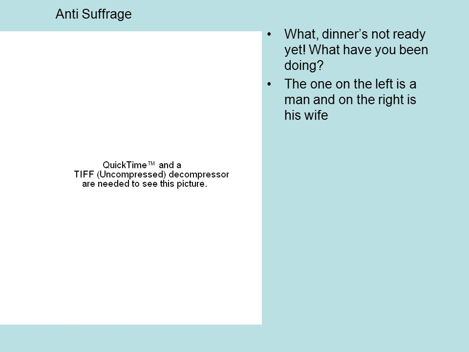 Anti Suffrage What, dinner's not ready yet! What have you been doing? The one on the left is a man and on the right is his wife