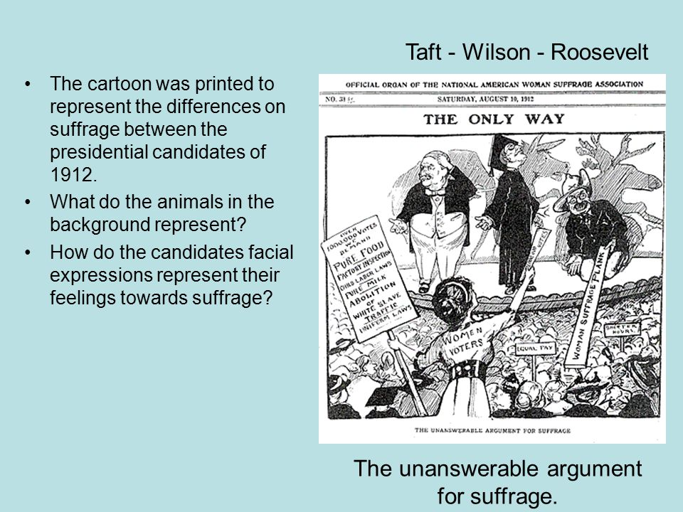 The cartoon was printed to represent the differences on suffrage between the presidential candidates of 1912. What do the animals in the background re