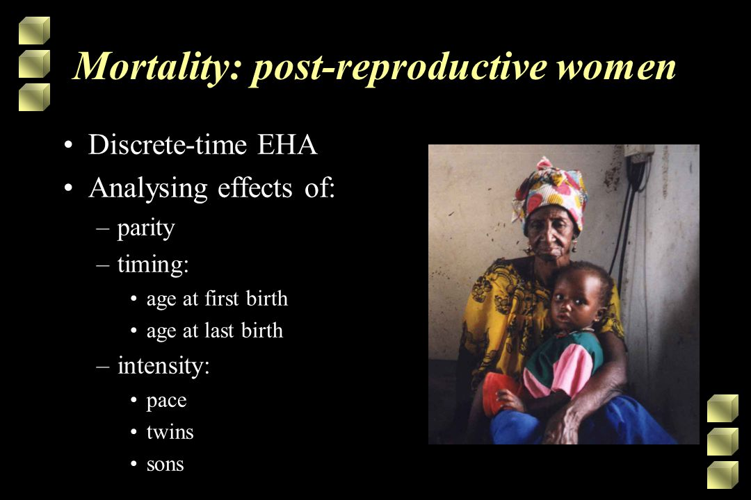 Mortality: post-reproductive women Discrete-time EHA Analysing effects of: –parity –timing: age at first birth age at last birth –intensity: pace twins sons